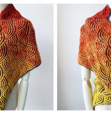 Uroko Brioche Shawl Free Knitting Pattern