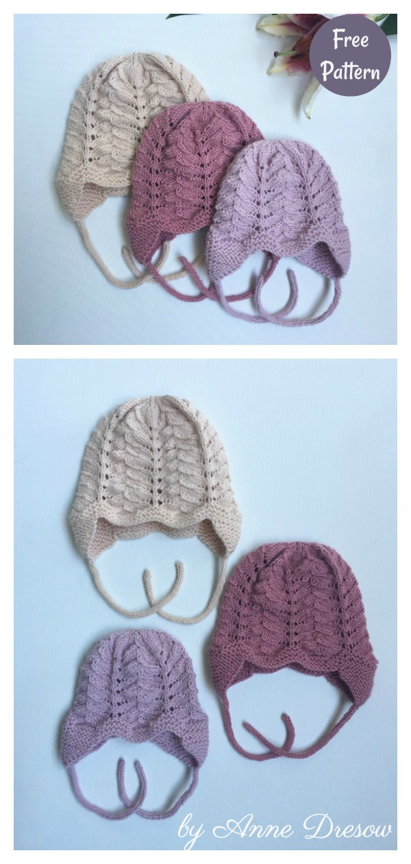 Anemone Lace Baby Bonnet Free Knitting Pattern