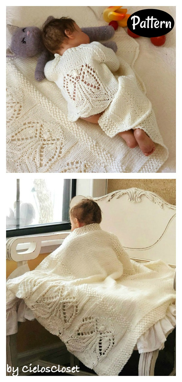 Angels Motif Baby Cardigan and Blanket Knitting Pattern