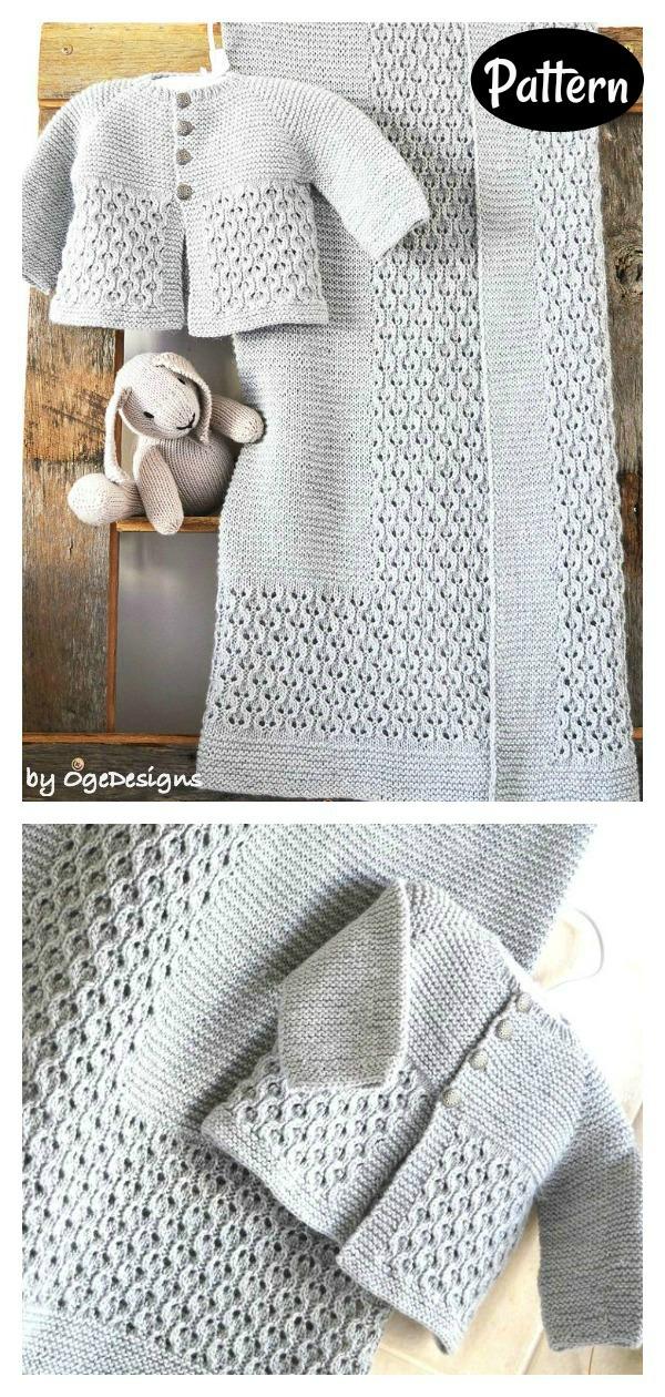 Baby Blanket & Jacket Set Knitting Pattern