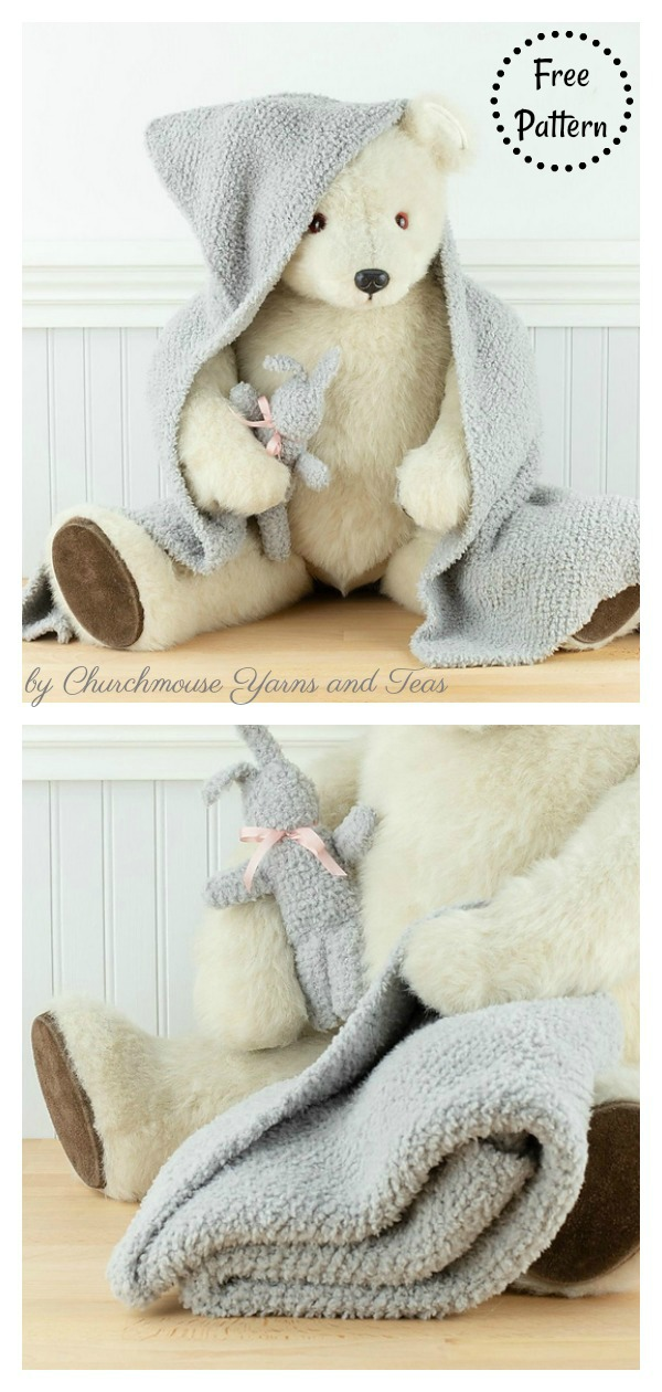 Baby Blanket with Hood and Bunny Free Knitting Pattern