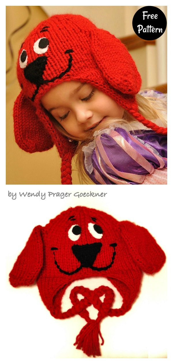 Big Red Dog Earflap Hat Free Knitting Pattern