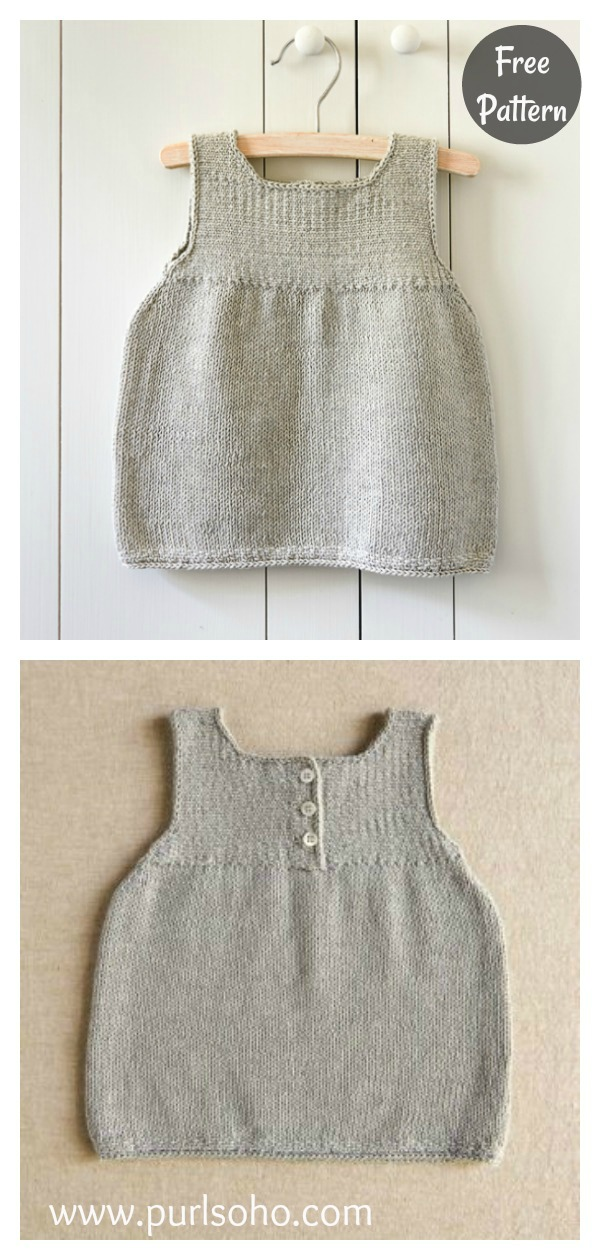 Clean and Simple Baby Dress Free Knitting Pattern