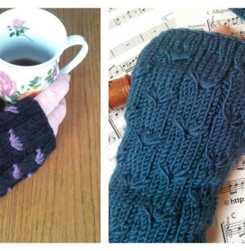 Dandelion Stitch Fingerless Gloves Free Knitting Pattern