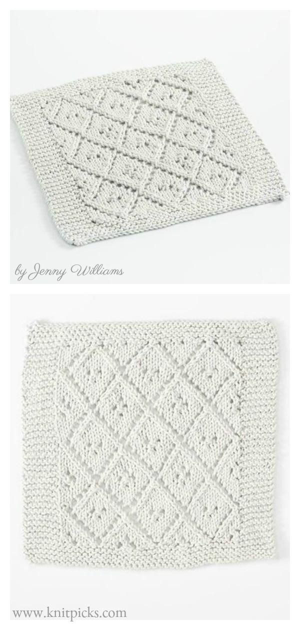 Diamond Lace Dishcloth Free Knitting Pattern
