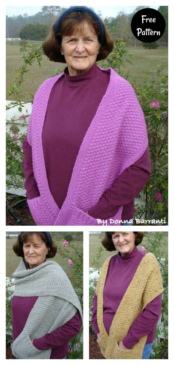 Double Moss Pocket Shawl Free Knitting Pattern