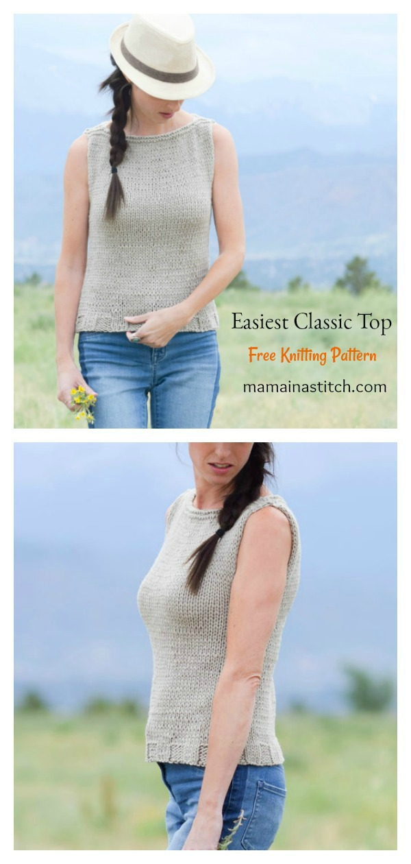 Easiest Classic Tank Top Free Knitting Pattern