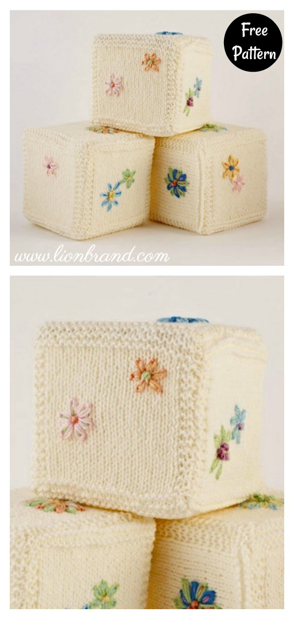 Embroidered Baby Building Block Cube Free Knitting Pattern