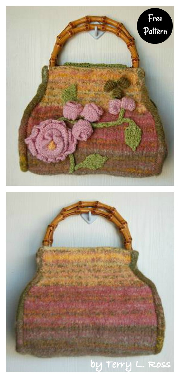 English Garden Felted Carpet Bag Free Knitting Pattern