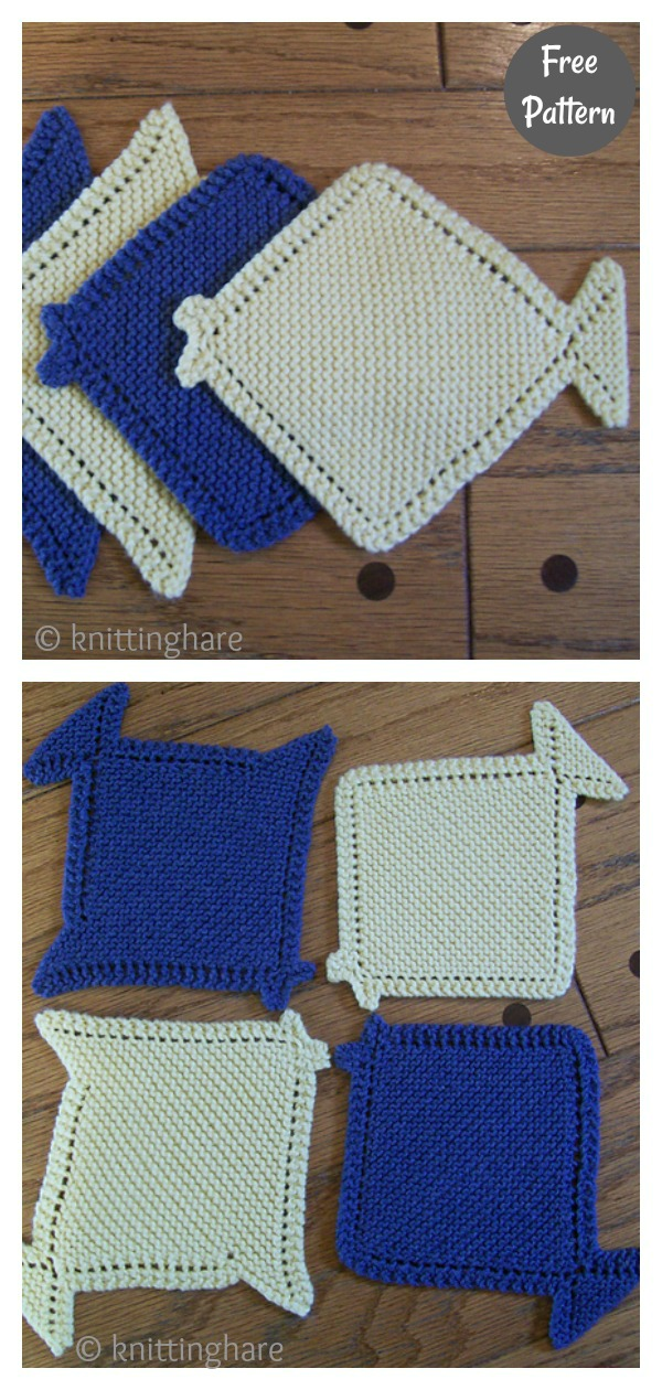 Fish Coaster Free Knitting Pattern