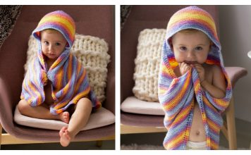 Garter Stitch Hooded Baby Blanket Free Knitting Pattern