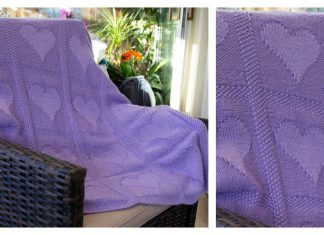 Heart Motif Blanket Free Knitting Pattern