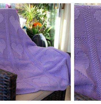 Heart Motif Blanket Free Knitting Pattern