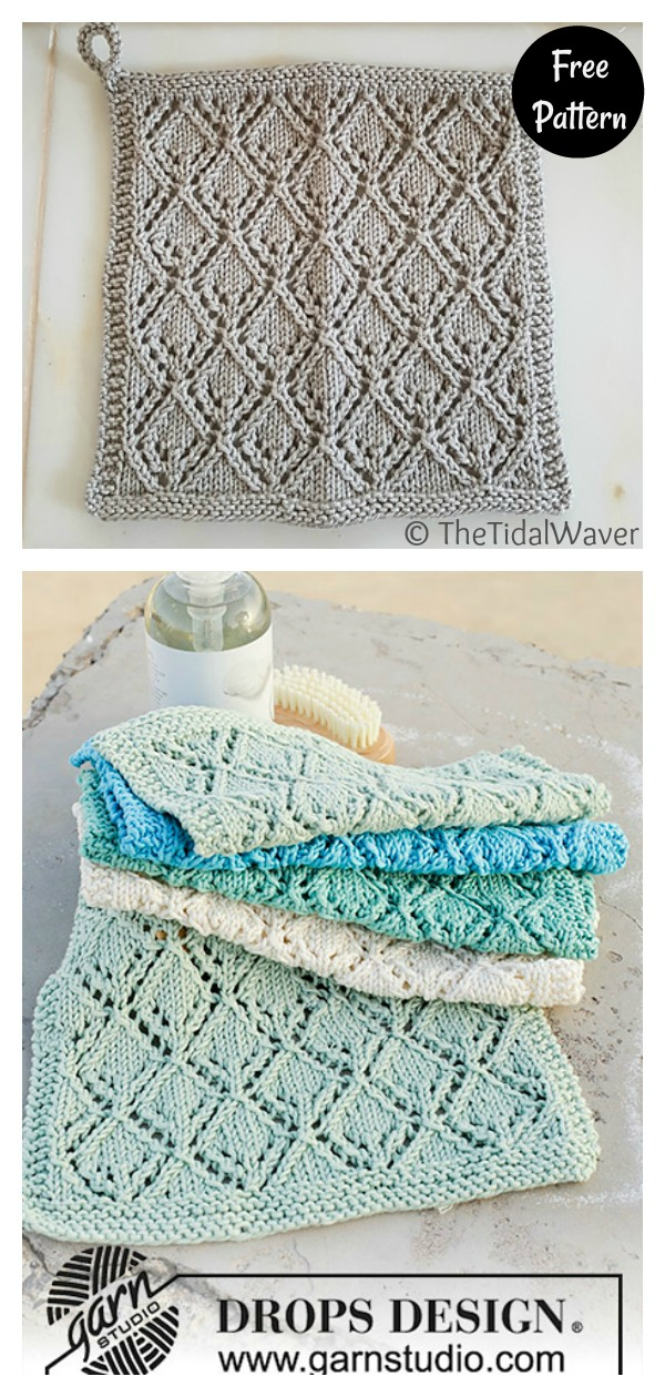 Lace Diamond Washcloth Free Knitting Pattern