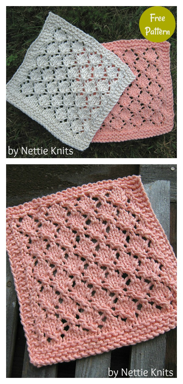 Lacy Diamonds Dishcloth Free Knitting Pattern