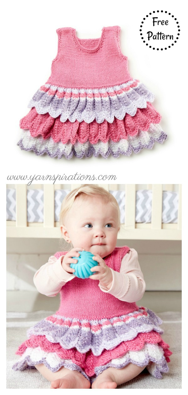 8 Adorable Baby Dress Free Knitting Pattern and Paid ...