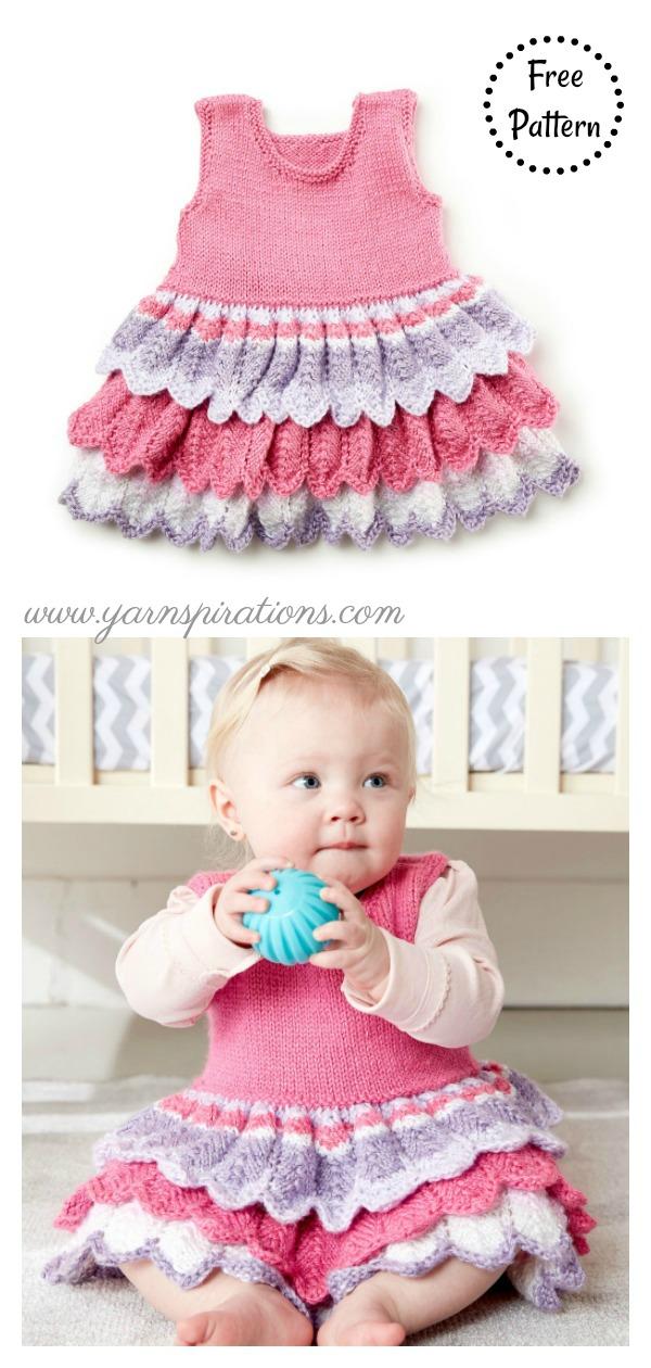 Lacy Layer Cake Baby Dress Free Knitting Pattern