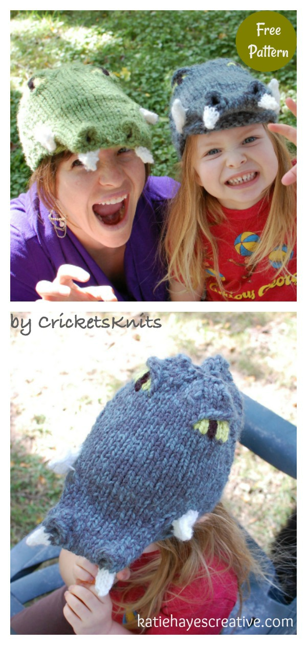 Mean Old Crocodile Hat Free Knitting Pattern