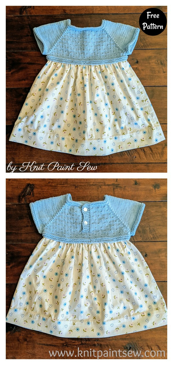 Mixed Media Baby Dress Free Knitting Pattern
