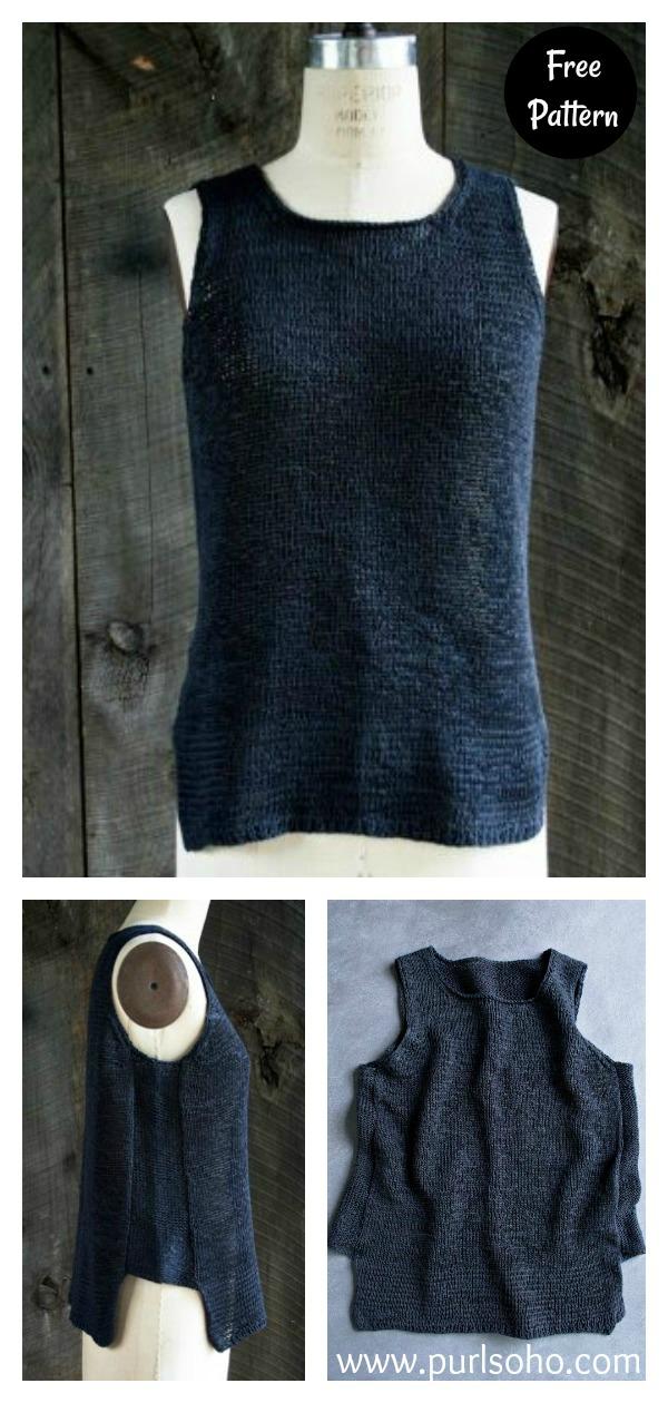 Notched Hem Tank Top Free Knitting Pattern