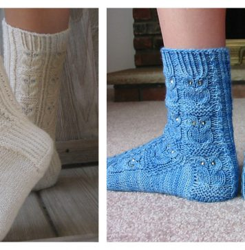 Owl Motif Socks Free Knitting Pattern