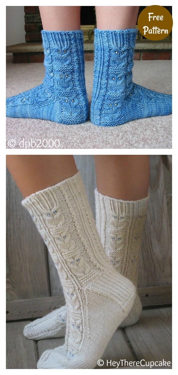 Owl Motif Socks Free Knitting Pattern