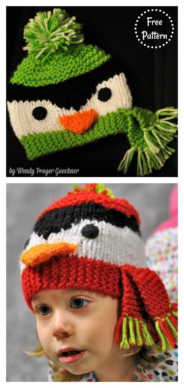 Penguin Beanie Hat Free Knitting Pattern