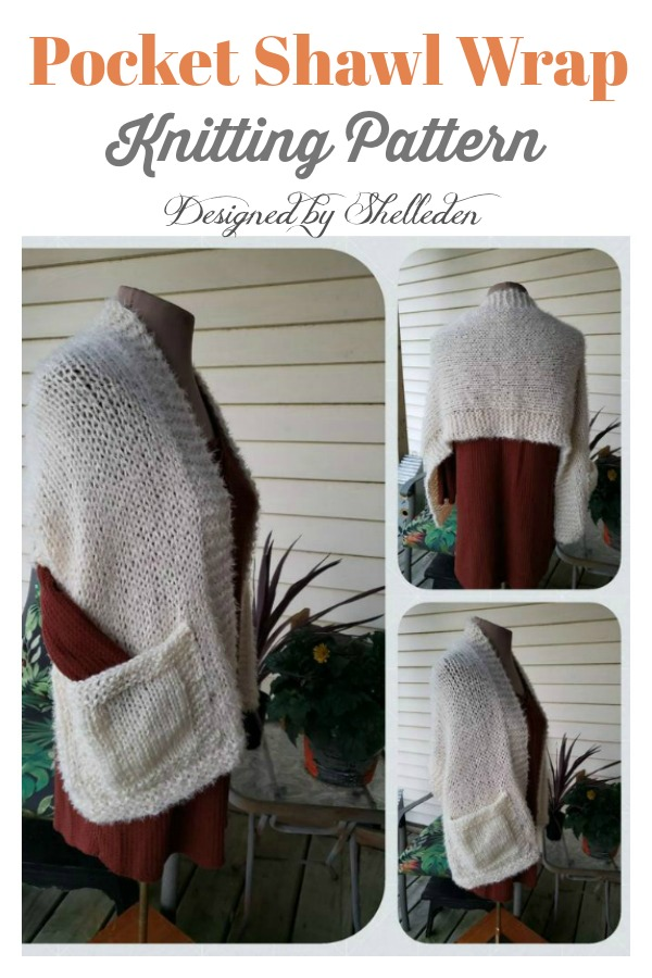 Pocket Shawl Wrap Knitting Pattern