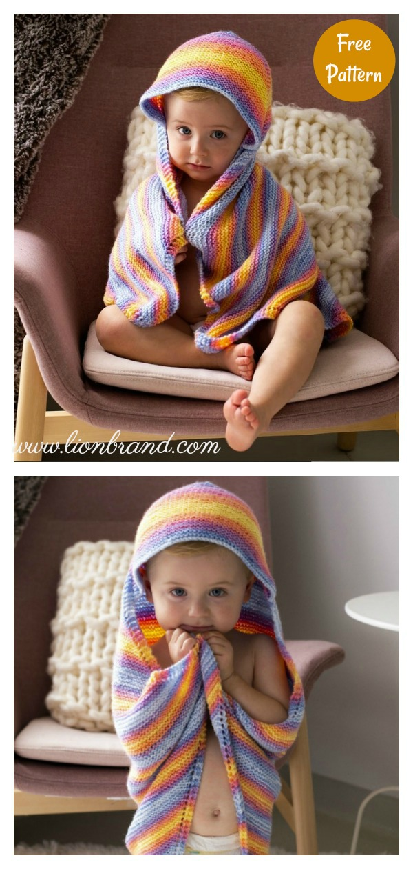 Garter Stitch Rainbow Hooded Baby Blanket Free Knitting Pattern