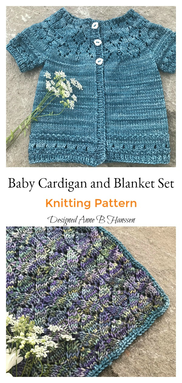 Seven Senses Baby Cardigan and Blanket Set Knitting Pattern