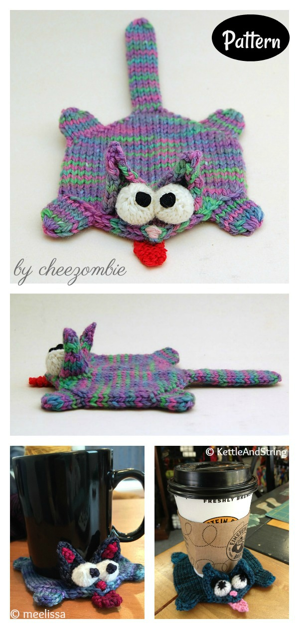 Splat Cat Amigurumi Coaster Knitting Pattern