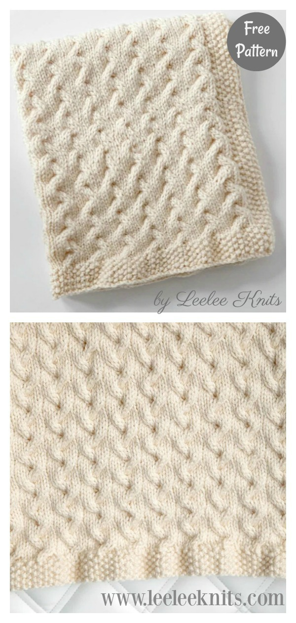 Tiny Ripples Cable Baby Blanket Free Knitting Pattern