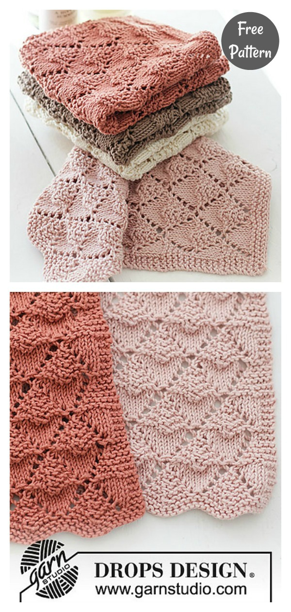 Bright Lace Diamond Dishcloth Free Knitting Pattern