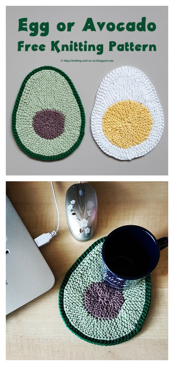 Avocado Coasters or Potholder Free Knitting Pattern