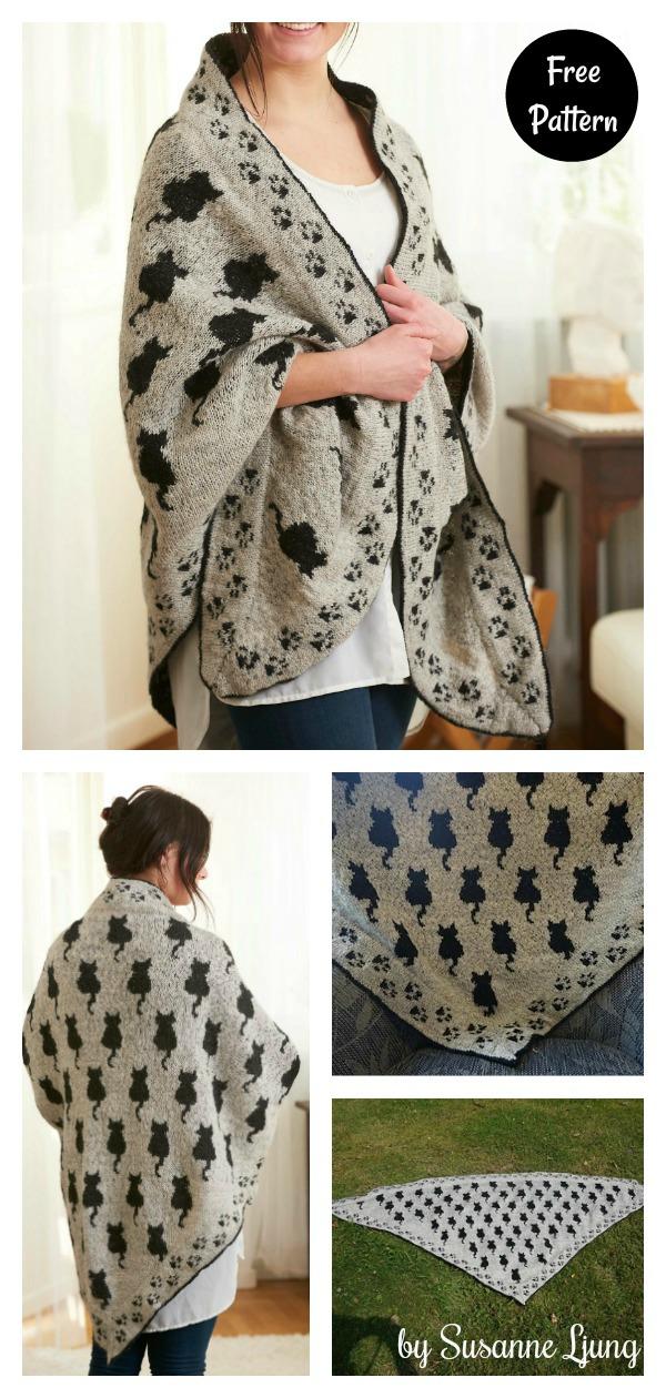 Cat Shawl Free Knitting Pattern