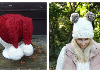 Double Pom Pom Hat Free Knitting Patterns