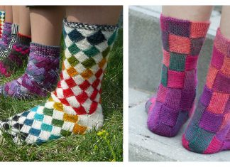 Entrelac Socks Free Knitting Pattern