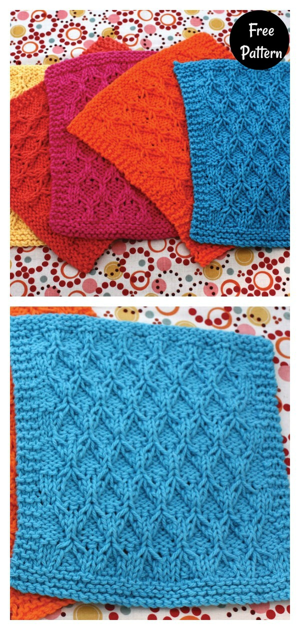 Honeycomb Check Dishcloth Free Knitting Pattern