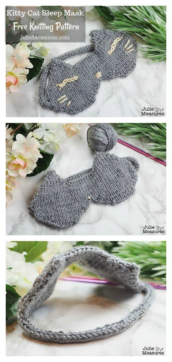 Kitty Cat Sleep Mask Free Knitting Pattern