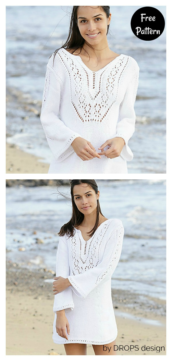 White Pearl Beach Cover Up Free Knitting Pattern