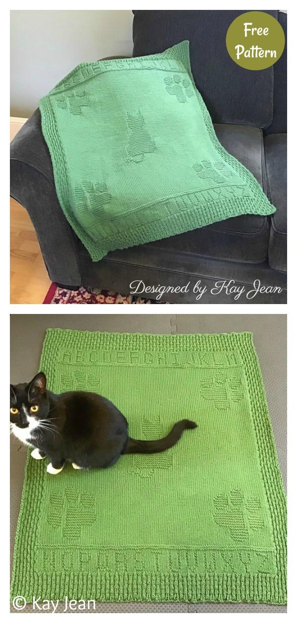 Alpha-cat Blanket Free Knitting Pattern