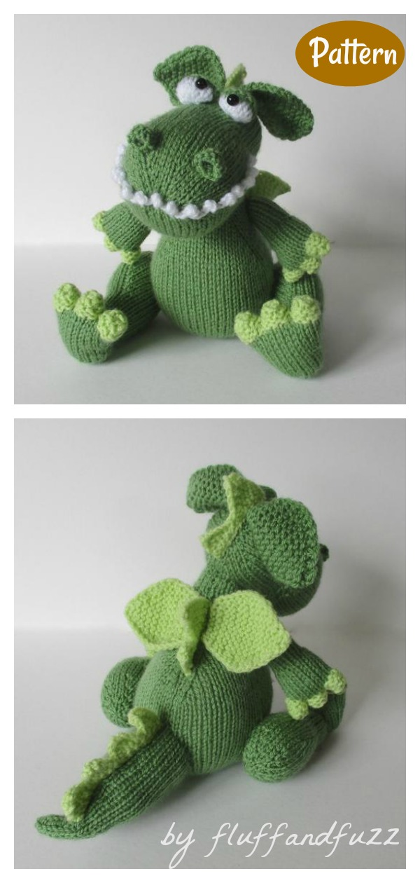 Griff the Dragon Toy Knitting Pattern