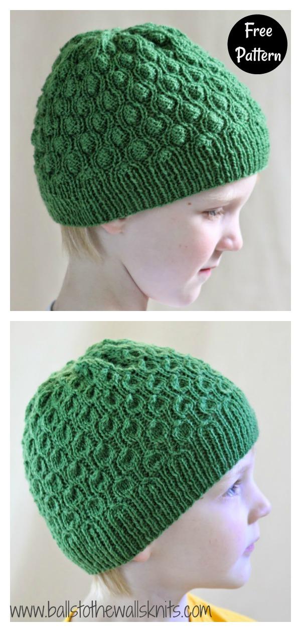 Kids' Reversible Cocoon Hat Free Knitting Pattern