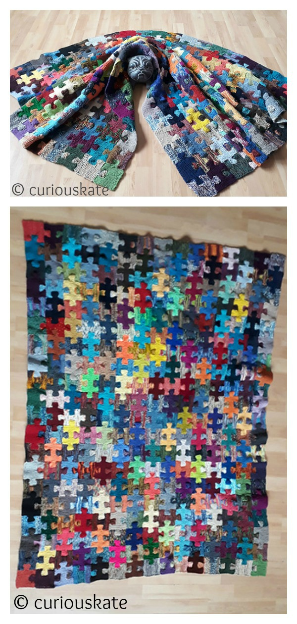 Knitted What Puzzles Me Blanket