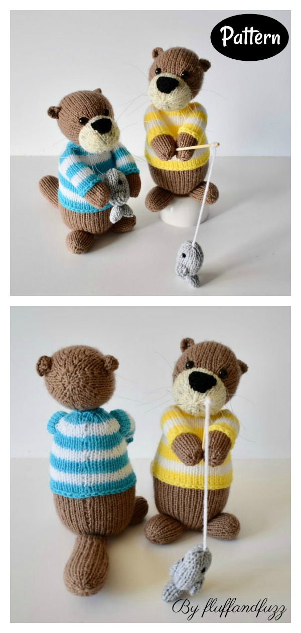 Otters Gone Fishing Toy Knitting Pattern