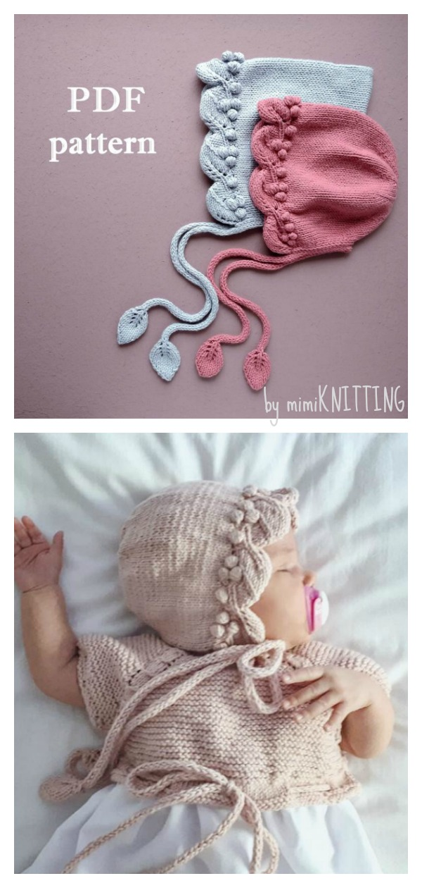 Popcorn Baby Bonnet Knitting Pattern