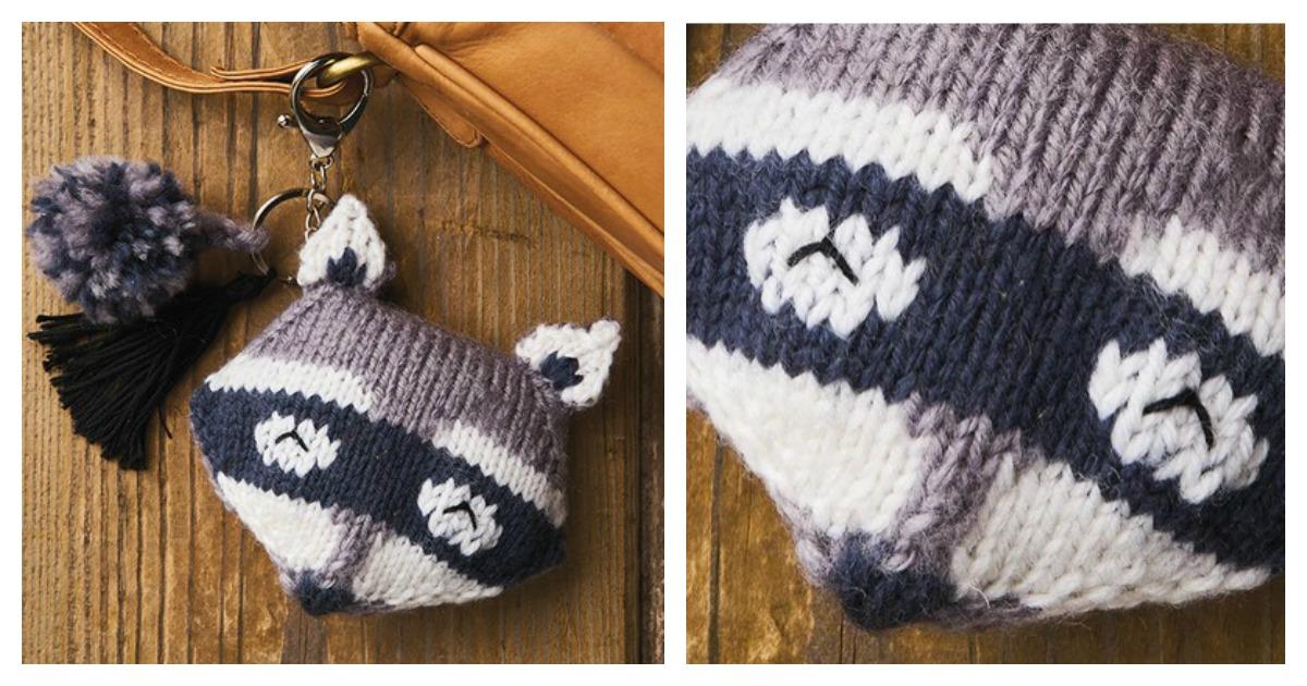 Raccoon Keychain Free Knitting Pattern
