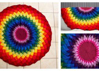 Rainbow Mandala Entrelac Blanket KAL Free Knitting Pattern
