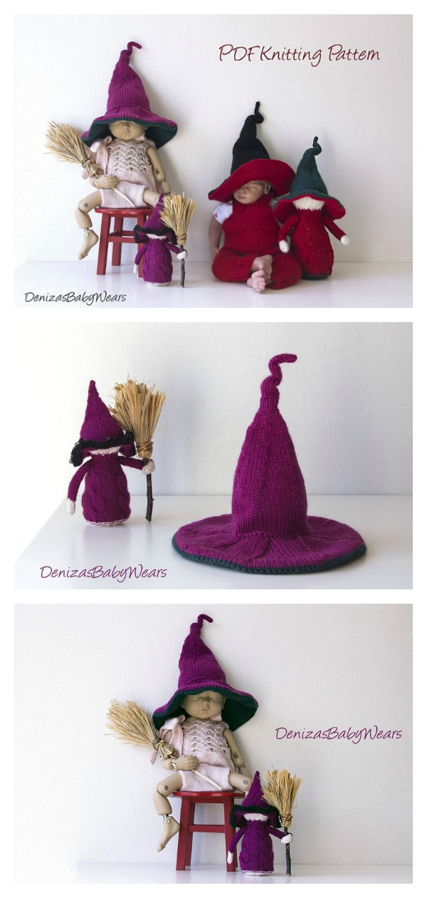 Witch Baby Cap Knitting Pattern