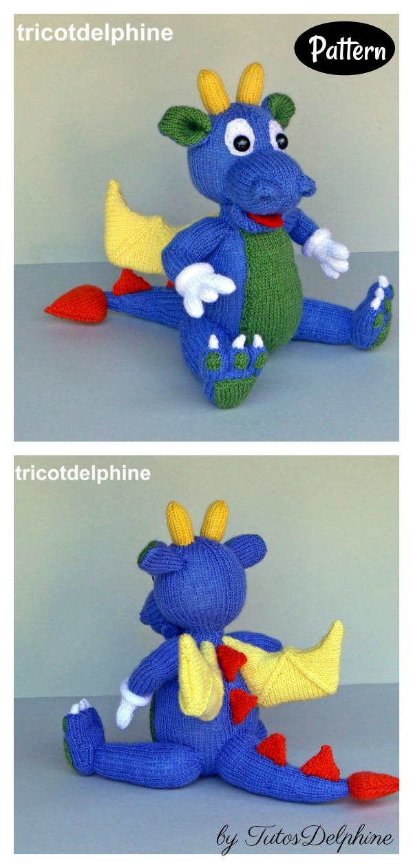 Blue Dragon Amigurumi Knitting Pattern